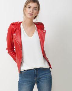 1.2.3 Paris - Les looks printemps - été 2016 - BLOUSON DE CUIR ROUGE VELA 299€ #123paris #mode #fashion #shopping #leather #red