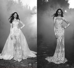 2016 Zuhair Murad See Through Wedding Dresses With Detachable Train Sheer Neck Lace Appliques Organza A Line Long Sleeves Bridal Gowns Discount Wedding Dress Fashion Wedding Dresses From Snowqueen98, $213.07| Dhgate.Com