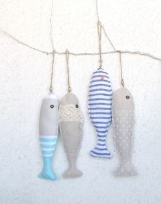 2 Fabric stuffed fish ornaments, summer house décor, nautical, cute, pick any 2. $21.00, via Etsy.