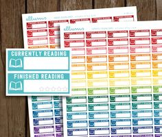 Reading Planner Stickers | PRINTABLE Instant Download | Currently Reading Stickers | Finished Reading | Book | Erin Condren | Happy Planner by ellums on Etsy