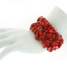 8″ Multi Strands Red Coral Stone Chips Stretch « Holiday Adds