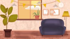 living indoor simple cartoon sofa single resolution window psd backgrounds plant fresh pngtree plan reference perfect graphic similar kartun