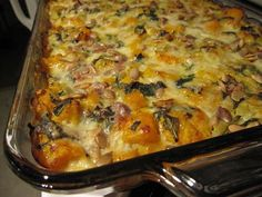 Butternut squash casserole - this is a winner with stuffing instead of bread crumbs. Maybe add potatoes? Pair with pork chops, cran/apple dressing, and spinach salad. Vegetarian Casserole, Vegetarian Cooking, Casserole Recipes, Vegetarian Recipes, Cookbook Recipes, New Recipes, Cooking Recipes, Favorite Recipes, Recipies