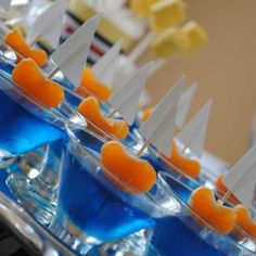 blue jello shots with clementines so cute!