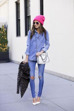 Jeans: Rag & Bone   Shirt: Paige Denim, similar, similar, similar   Shoes: Christian Louboutin   Bag: Stella McCartney   Sunnies: Beach Riot   Jacket: H&M  Beanie: American Eagle
