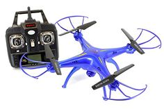 Syma X5SW Explorers2 2.4G 4CH 6-Axis Gyro RC Headless Quadcopter with 2MP HD Wifi Camera (FPV)  Tenergy Thunder Blue Deluxe Package with additional accessories