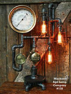 Steampunk Industrial Lamp Antique Steam Gauge - 138 - SOLD
