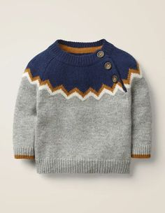 Buy Mini Boden Baby Chevron Yoke Jumper, Grey/Navy from our Baby & Toddler Knitwear range at John Lewis & Partners. Baby Boy Knitting Patterns, Baby Cardigan Knitting Pattern, Sweater Knitting Patterns, Knitting For Kids, Knit Baby Sweaters, Boys Sweaters, Pulls, Grey Sweater, Barn