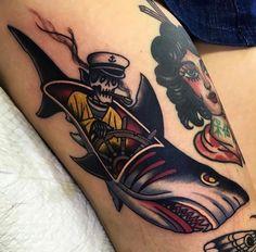 Captain Shark by at Ocean Ink in Miranda New South Wales. Finger Tattoos, Body Art Tattoos, Sleeve Tattoos, Cool Tattoos, Traditional Shark Tattoo, Traditional Tattoo Design, Hai Tattoos, Kunst Tattoos, Traditonal Tattoo