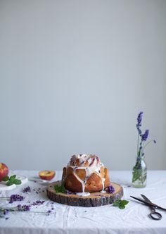 Peach bundt cake with lemon icing and lavender