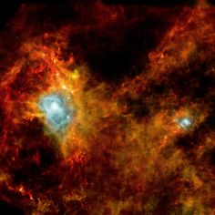 An infrared view from ESA's Herschel observatory of a new star-forming region. Image credit: ESA / SPIRE / PACS / P. André (CEA Saclay).