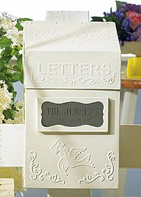"""I will be getting this! This antique-style letter box is such a unique guest book alternative. From its vintage embossed detailing to old-fashioned air mail stationery, it is sure to make a great accessory to the guest book table and timeless keepsake for years to come.  Features and Facts:  Stationery sold separately.  Size:7'' x 4"""" 1/4'' x 12"""" 1/2'' H.  Opens at the top.  Ivory in color."""