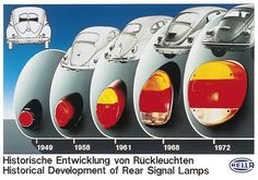 Historical Development of the Beetle's rear signal lamps. (French? Website, useful thing is pic only)