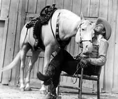 SOUTH OF THE CHISHOLM TRAIL (1947) - Charles Starrett & 'Raider' -- Smiley Burnette - Columbia Pictures - Publicity Still.