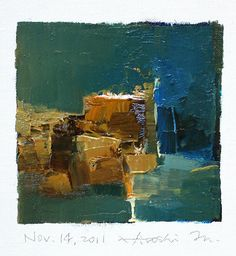 Painting by Hiroshi Matsumoto - water and stone - teal and sand