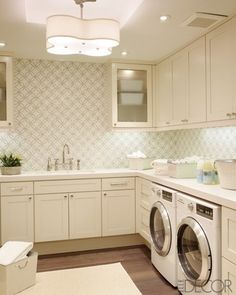 laundry room- wallpaper and the light fixture