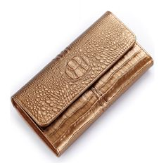 La Mia Cara Jewelry - Janina - Luxury Crocodile Genuine Smooth Shiny Leather Wallet Purse