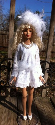 "Sugar White  DRESS outfit for 22"" Tonner American Model doll or 1/3 BJD CUSTOM #ClothingAccessories"