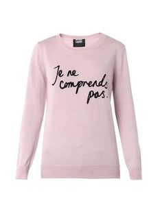 "Markus Lupfer Natalie ""Je Ne Comprends Pas"" Sweater: Markus Lupfer Natalie Je Ne Comprends Pas sweater ($362) RELATED: Check out our favorite t-shirts with the best French sayings."