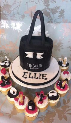 Ted Baker bag cake with matching cupcakes