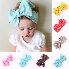 Clothing, Shoes & Accessories Self-Conscious New Cute Big Bow Orange And White Striped Baby Girls Cotton Headband A Great Variety Of Models