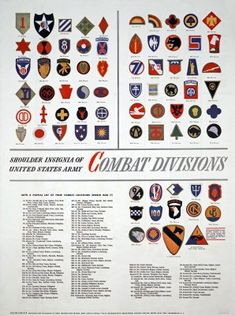 A reference guide / map to US army combat divisions shoulder insignia. The print is from February 1945. Also, it is written where every division saw combat.