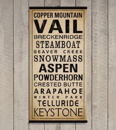 COLORADO SKI RESORTS Original Alpine Graphics Typographic Illustration - made to order giclee print on Etsy, for me ski themed room :)
