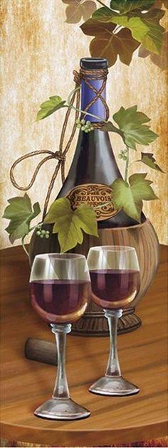 lámina decoupage vino Wine Painting, Fruit Painting, Watercolor Painting, Decoupage Vintage, Wine Art, Wine Time, Mail Art, Still Life, Art Boards