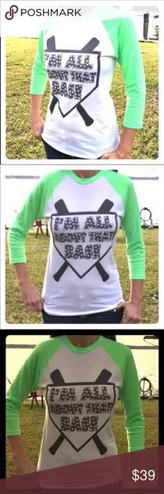 """NWT baseball raglan 3/4 sleeve lime white t-shirt """"All about that Base"""" graphic raglan shirt in a size small. New with tags from a boutique. Size small. Bundle with other items in my closet to save even more. Tops"""