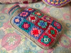 crochet squares hot water bottle cover