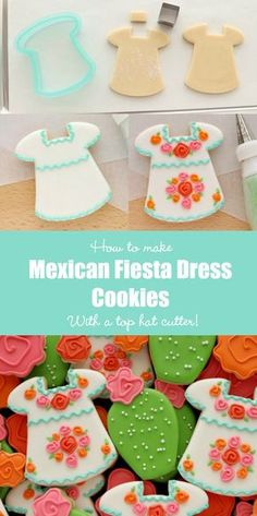 How to Make Mexican Fiesta Dress Cookies – The Sweet Adventures of Sugar Belle Iced Cookies, Cute Cookies, Royal Icing Cookies, Cupcake Cookies, Sugar Cookies, Cupcakes, Mexican Fiesta Dresses, Mexican Fiesta Cake, Mexican Desserts