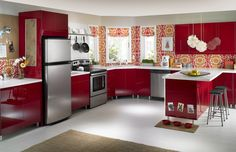 Fantastic Red Furniture Kitchen Interior Design Style Color with Flower Wallpaper Besides and White Top Table Design