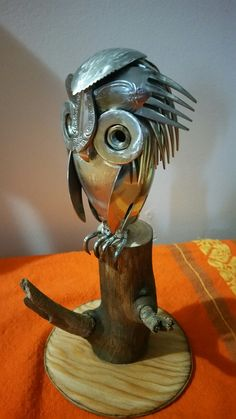 Little owl cutlery sculpture Archetype metal creations