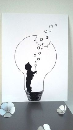 """Poster Illustration Black and white bulb """"the force of childhood"""": Posters, illustration . - Poster Illustration Black and white bulb """"the force of childhood"""": Posters, illustrations, posters - Cool Art Drawings, Pencil Art Drawings, Art Drawings Sketches, Easy Drawings, Art Sketches, Drawing Ideas, Mini Drawings, Tattoo Drawings, Doodle Art"""