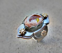 Lotus Ring with Rainbow Mexican Fire Opal, Adjustable, Passion, Personal Power, Protection, Sacral and Solar Plexus Chakra, Kundalini Stone by SilviasCreations on Etsy