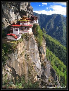 "Taktshang by ardes""  ""Taktshang ( means tiger also known as Tiger's Nest, the Tiger's Lair) Goemba (Monastery) is on a ledge with a sheer drop of 1200 m below."""