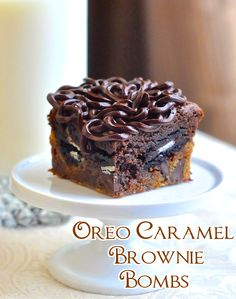 """Oreo Caramel Brownie Bombs - Here's what one fan had to say, """"A coworker brought these in to the office yesterday. May I just say, they are the most delicious brownies I've ever had in my life, and I'm an almost 50-yr-old passionate foodie with a lifelong chocolate addiction. They're chewy, crunchy, gooey and soooo very chocolatey. Thank you for sharing this fantastic recipe!!"""""""
