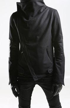 LEATHER MIX UNBALANCE JACKET street style , unique fashion , gothic style , unisex , avant garde , etsy , high fashion,  made in korea  109 usd