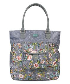 Loving this Gray French Flowers Tote on #zulily! #zulilyfinds
