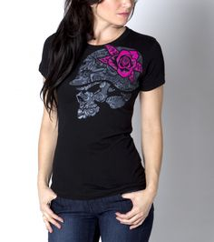 Metal Mulisha Maidens Holy Moly tee. Skull. Hot Pink Rose. Hand Drawn.
