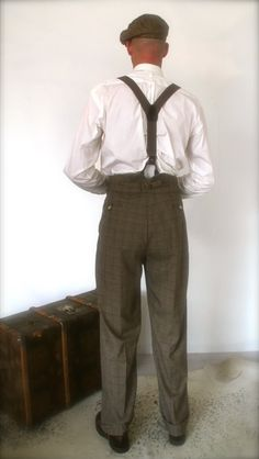 1930's mens pants high waisted trousers for by SunnySideCouture