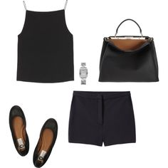 A fashion look from December 2013 featuring black tank, black shorts and black flats. Browse and shop related looks.