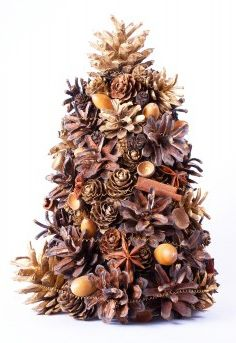 Natural Aromatic Christmas Tree ... It incorporates acorns, pine cones, cinnamon sticks,  star anise, and whole cloves ... A cone made out of floral foam is used as the base. The natural aromatics are added using floral wire and pins. The aroma of the spices will fade over time, but can be freshened back up by carefully dropping essential oils onto the tree.  Tiny twinkle lights would really turn this into a showstopper!
