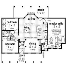 Cottage Style House Plan - 3 Beds 2 Baths 1565 Sq/Ft Plan #45-582 - Houseplans.com House Plans And More, Best House Plans, Porch Storage, Building Costs, House Building, Cottage Style House Plans, Flat Roof, Cottage Design, Traditional House