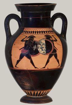 Terracotta amphora (jar) [Period: Archaic] [Date: ca. 530 B.C.] [Culture: Greek, Attic] [Medium: Terracotta; black-figure]