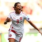 Nadia Nadim of Denmark celebrates scoring the opening goal
