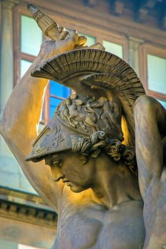"Detail of the sculpture group ""Rape of Polyxena"" by Pio Fedi, 1866, Loggia dei Lanzi in Florence"