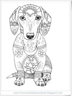 coloring pages for adults. dachshund dog. colouring page for national pet day greeting cards