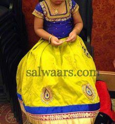 Lemon Yellow and Blue Lehenga | Indian Dresses