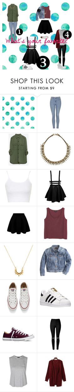 """""""What' your favorite? 1 2 3 4?"""" by trendygirlxx on Polyvore featuring mode, Topshop, Zara, Natalie B, Monki, Pamela Love, J.Crew, Converse, adidas en WithChic"""